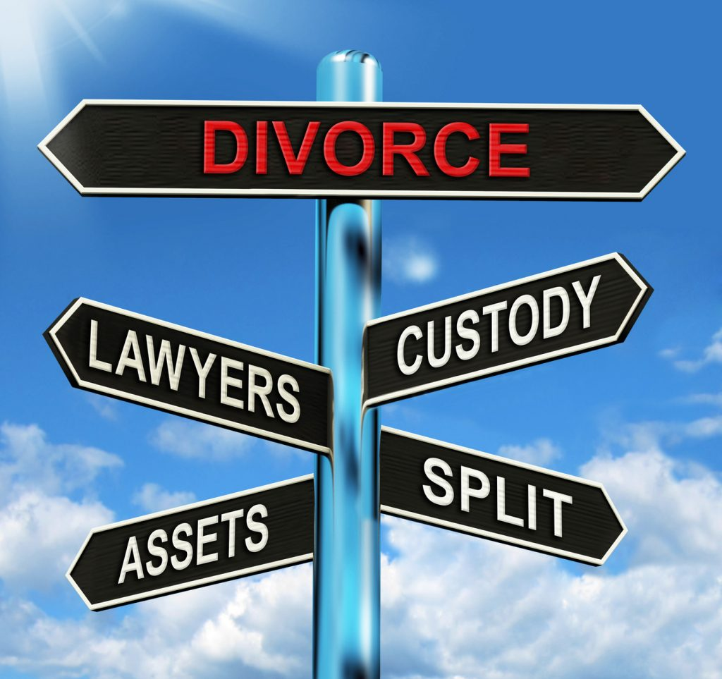 Divorce sign with arrows to different divorce terms from Xenia divorce lawyer