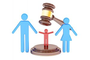 divorce and custody child concept with gavel and family, 3D rendering and if you are a stepparent and need a custody lawyer find a skilled one in Dayton, Ohio.